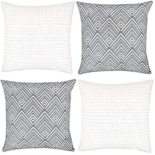 Woven Pillow Covers for Couch, Set x 18 Quality Design 100% Stripes Geometric mud Brixton
