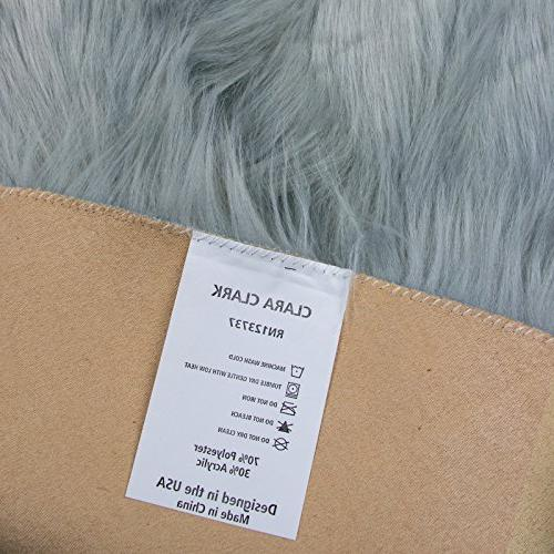 Faux Fur Sheepskin – Silver, Furry Rugs for Vanity Chairs Cover Area Kids Room Floor Faux 2ft x 3ft