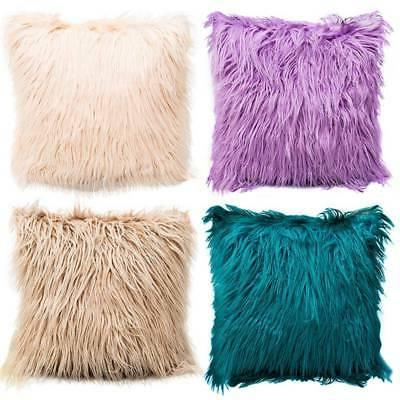 Fur Plush Velvet Square Throw Pillow Cases Cushion Cover Sofa Decors