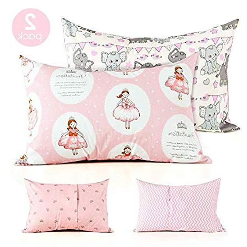 Kids Toddler Pillow Cover for Girls Kids Bedding,Crown Elephant