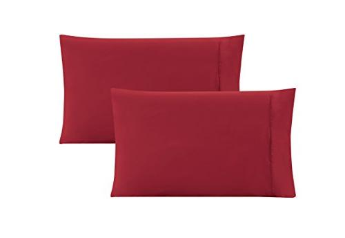 queen solid burgundy red pillow
