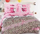 Kitty Cat Floral Queen Lace Princess Duvet Cover Pillowcases