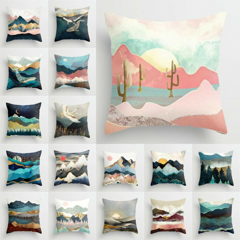 landscape painting pillow cases home bed sofa