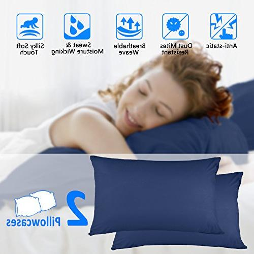 Adoric Cases Set 2, 100% Microfiber, Double-Stitched Tailoring, Ultra Soft Premium Pillow Covers