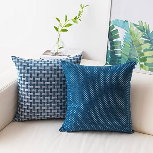 linen cushion cover dots checkers