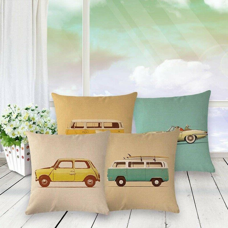 Lovely Car Bus Pillow Cases Cushion Covers Cotton Pillowslip 1PC