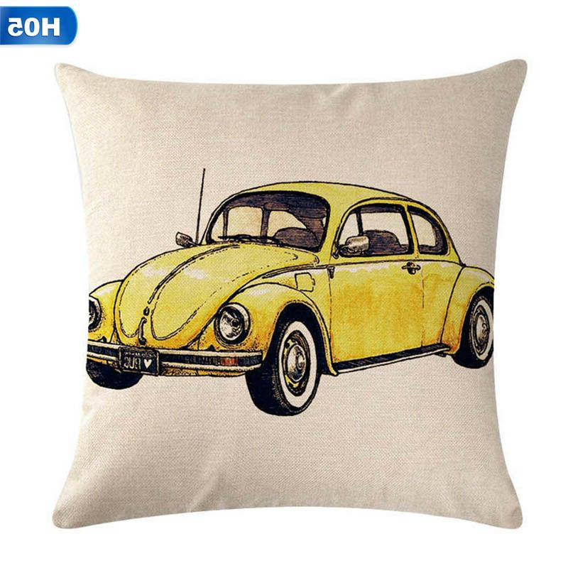 Lovely Car Printed Pillow Cases Cushion Cotton