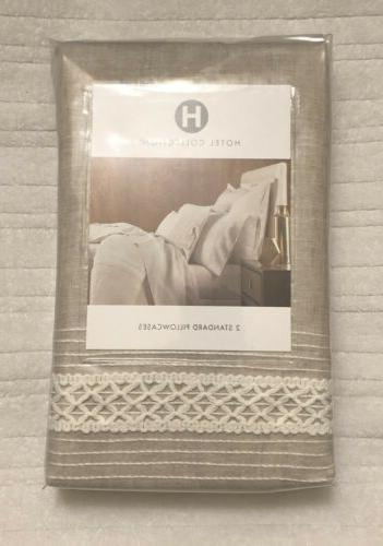 Hotel Madison Hemstitch Linen Cases Oatmeal Lace