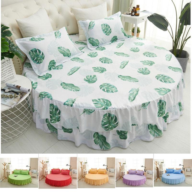 Mattress Cover+2 Bed Round Ruffle Skirt 78inches Dia 6 WCV