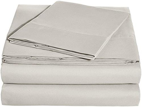 AmazonBasics Microfiber Sheet Set - Twin Extra-Long, Light Grey