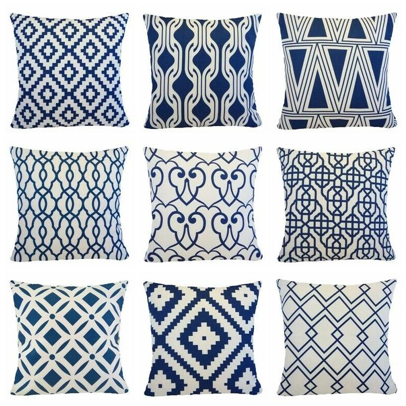 navy blue accent throw pillow cover sofa