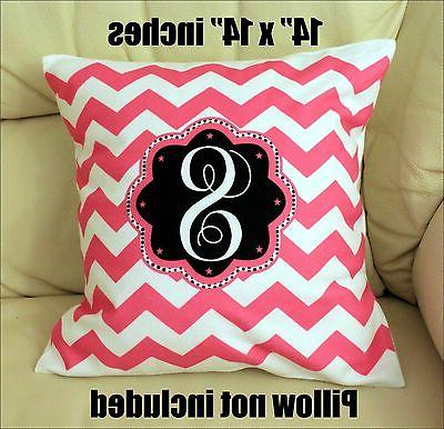 """NEW 14 """" x 14""""  PILLOW CASE PERSONALIZED CHEVRON PRINTED ONE"""