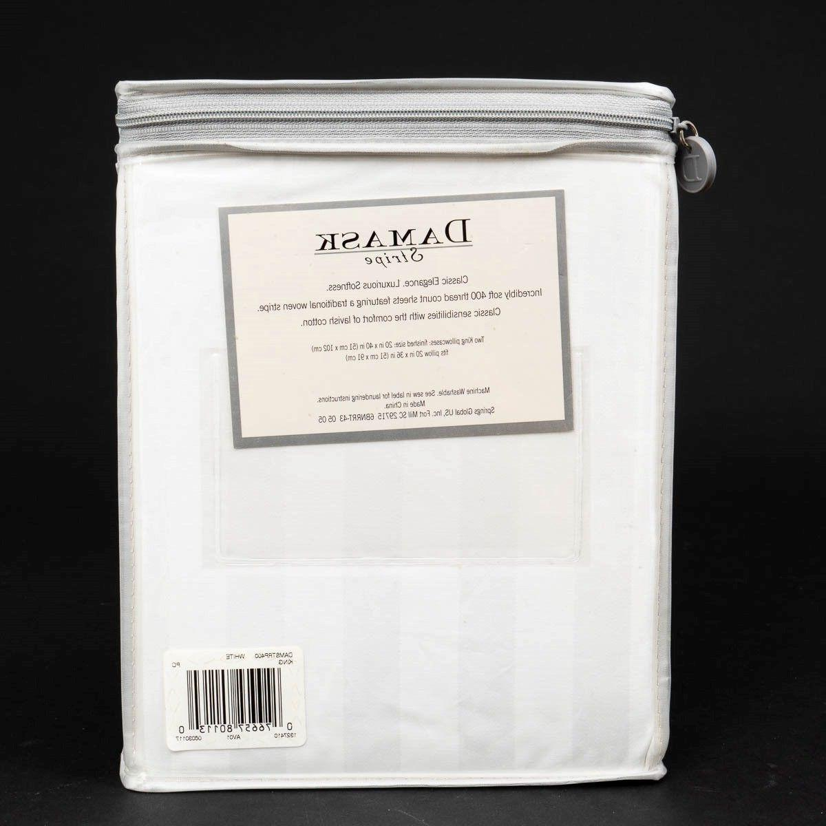 New Damask of 2 King 400 Count Cotton White