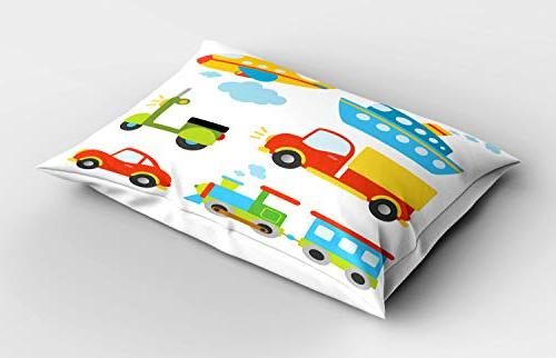 Ambesonne Abstract Transportation Types Toddlers Car Ship Scooter Standard Pillowcase, 30 X 20 Inches, Multicolor