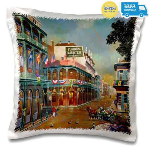 old new orleans painting pillow case 16