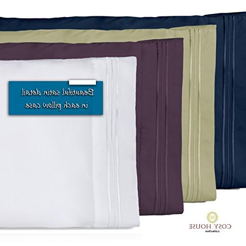 Cosy Pillowcases Standard Pillow Set 2 Super Soft Hotel Quality - & Wrinkle Free