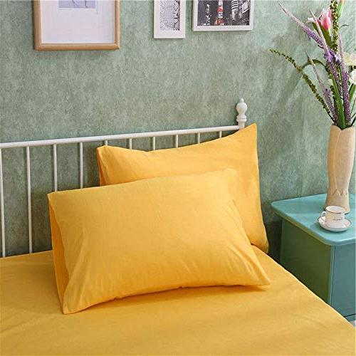 AWLAND Pillowcases Standard Size Pillow Cases Protectors Egyptian Cotton 19 x 29 inch Bedding Pillow Covers Set of 2 Yellow