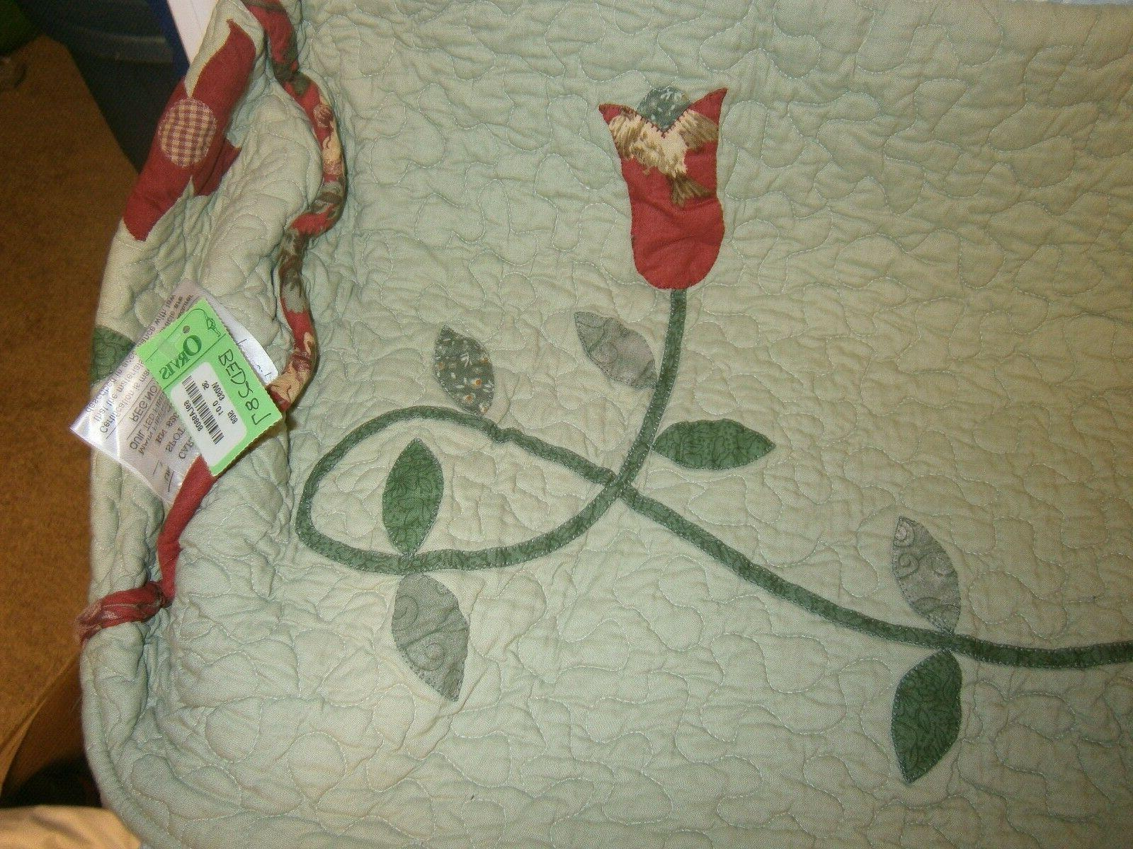 Pr. Round Column Pillow Cases New Green Pattern Orvis