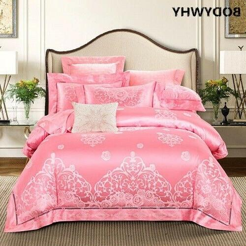 Purple Silk Satin Luxury Royal Bedding Sets Bed Sheet Cover