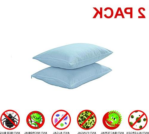 Niagara Queen Anti Allergy Dust Pair Pillow 100% Premium Zippered Anti Bacterial Non Coating Free