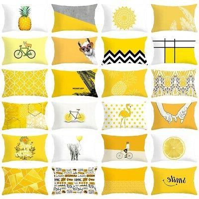 Yellow Pillow Cases Geometric Rectangle Throw Cushion Covers