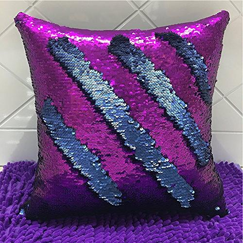 """URSKYTOUS Reversible Sequin Case Decorative Cover Color Throw 16"""" x 16"""",Blue and"""