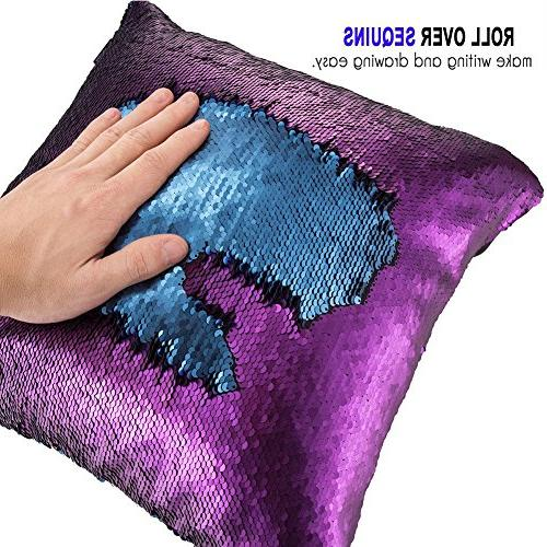 """URSKYTOUS Reversible Case Pillow Cover Color Cushion Throw Pillowcase 16"""",Blue and Purple"""