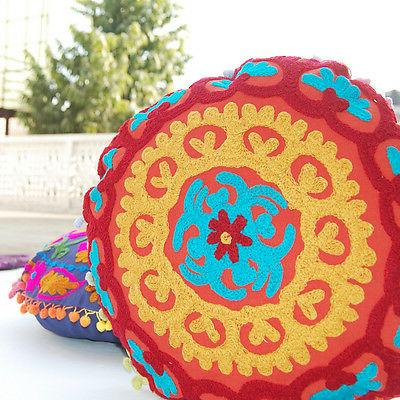 Round Cushion Cover Suzani Cases Embroidered