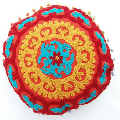 round cushion cover indian suzani pillow cases