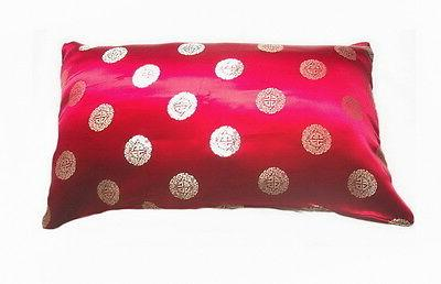 silk pillow cases maroon red lucky chinese