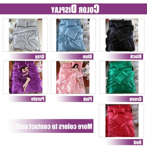 Silk Satin Cover Silky Fitted Sheet Soft Cases 4pcs