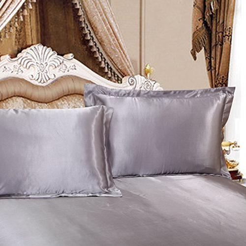 silver gray silk pillowcases satin