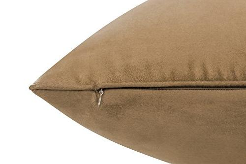 Inches Light Brown Color Faux Suede Decorative Euro Pillow Cover, Pillow Case with Super Faux Suede On Both Sides