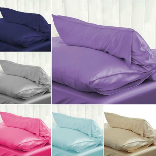 solid queen standard silk satin pillow case
