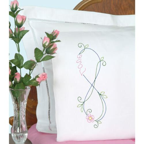 stamped pillowcases w white perle