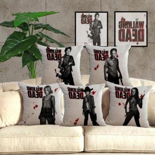 the walking dead pattern linen throw pillow