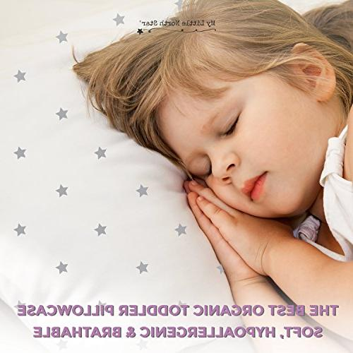 Toddler Pillowcase GOTS Certified Organic Cotton - Hypoallergenic Comfortable Chemicals on Toddler's Skin - and Grey