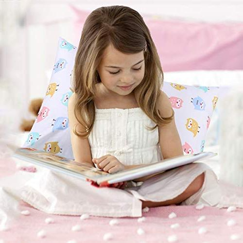 Kids Toddler Pillowcases UOMNY 2 Cotton Pillowslip Fits sizesd 13 or 12x for Kids Pillow Cover Baby Cases Pink/White Owl
