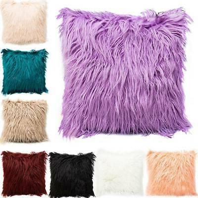 Square Throw Fur Fluffy Sofa Pillow Cases Plush Cushion Cove