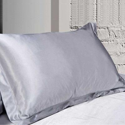 Silk Pillow Case Cover Solid Bed Sofa Comfortable