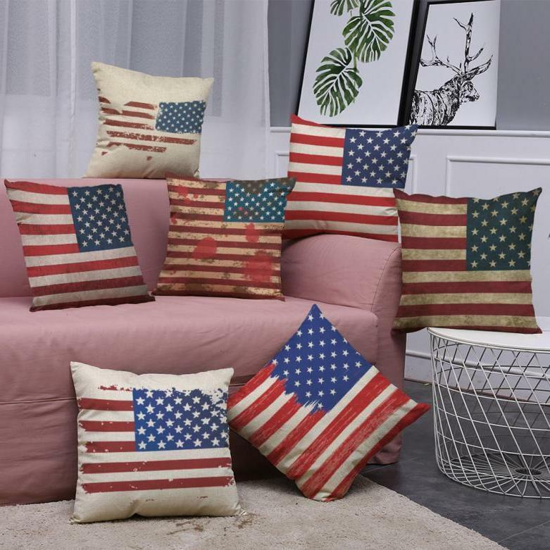 new retro american flag pillow cases cotton