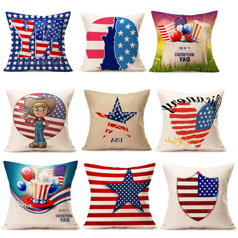1Vintage American Flag Pillow Cases Linen Home Bed Sofa Cush