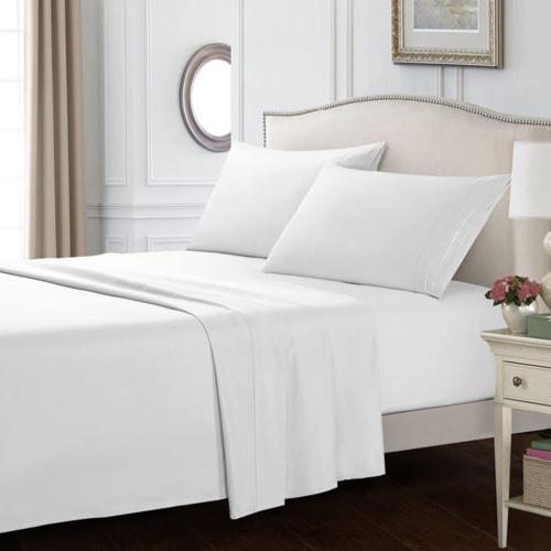 white sheet set bedding1800 thread count 12