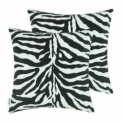zebra striped print black pillow cases