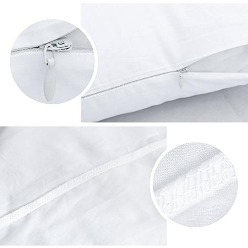 4-Pack Zippered Pillow Premium Thread Count 100% Egyptian White Zippered Pillowcases Dust Bug Resistant Pillow Protectors, King