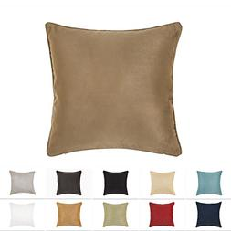 DreamHome 18 X 18 Inches Light Brown Color Faux Suede Decora