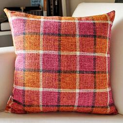 M MOCHOHOME Linen Decorative Plaid Checkered Square Throw Pi