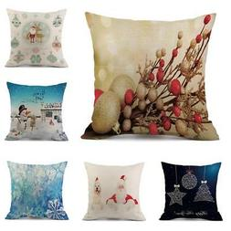 Linen Pillow Cases Happy Fall  Sofa Car Decoration Cushion C