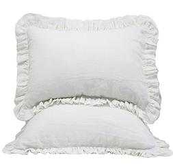 Queen's House 2 Pieces White Linen Pillow Cases Shams Covers