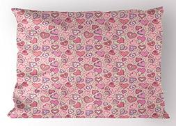 Ambesonne Love Pillow Sham, Romantic Cute Doodle Pattern Win